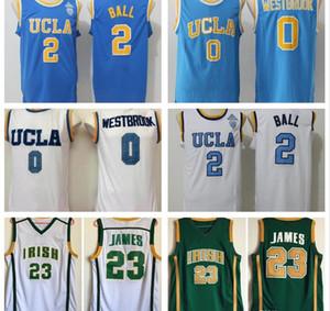 Средняя школа ирландский Леброн Джеймс золото зеленый Джерси 2019 белый синий NCAA UCLA Bruins #2 Lonzo Ball Рассел Уэстбрук колледж баскетбол Джерси