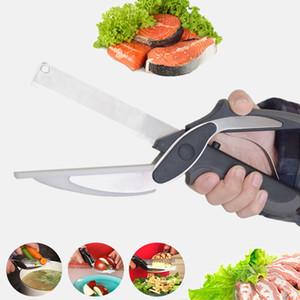 1 커팅 보드 유틸리티 커터 스테인레스 스틸 야외 스마트 야채 가위 부엌 칼 스마트 영리한 가위 커터 2