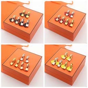 Europa Amerika Fashion Lady Titan Stahl Quasten H Brief Leder und Metall Doppel Schlösser 18K Gold Ohrringe 3 Farbe