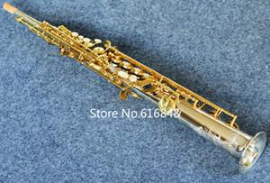 Nueva llegada de la alta calidad YANAGISAWA S-9030 Soprano recto de tubería saxofón plateado oro del cuerpo Laca Llave B (B) Latón Sax