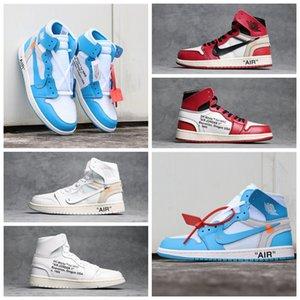 Nike air jordan 1 High Quality 1 Canary Yellow UNC Blue Chicago Black Red White Grey Men Basketball Shoes OW 1s Snakeskin Jordan Retro Sneaker