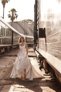 BHLDN Aline Beach Wedding Dresses Square Neck Sweep Train Satin Backless Country Bridal Dress Plus Size Cheap Wedding Gowns 4275
