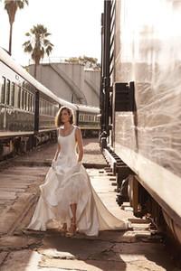 BHLDN Aline Пляж Свадебные платья площади шеи развертки Поезд атласная Backless Страна свадебное платье плюс размер Дешевые свадебные платья 4275