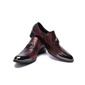 2019 moda pelle di serpente modello in vera pelle uomo scarpe bullock scolpito uomini vestiti scarpe da ufficio affari scarpe