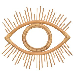 Eye Shape Decorative Mirror Rattan Innovative Art Decoration Round Makeup Mirror Dressing Bathroom Wall Hanging Mirror Crafts