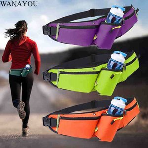 WANAYOU 6 Inch Running Waist Bag,Waterproof Men Jogging Sports Cycling With Water Bottle Pouch,Gym Mobile Phone Waist Belt Pack