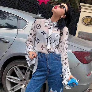 Son web ünlü kadın uzun kollu şifon gömlek seksi moda baskı harfleri mikro şeffaf güneş kremi uzun kollu gömlek