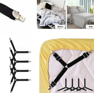 4 PCS Lot Bed Sheet Buckle Fasteners Adjustable Triangle Elastic Mattress Suspenders Sofa Covers Gripper Holder Straps Clips for Bed Sheets
