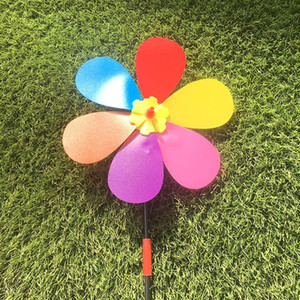 Sunflower Shape Pinwheel Springouting Colorful Lovely Outdoors Toys Cartoon DIY Self-assembly Plastic Windmill Toys For Children