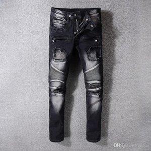 Mens plisado flaco Negro Jeans Moda Parches de diseño rasgado Fold cadera con paneles de cremallera Slim Fit motorista de la motocicleta Hop Pantalones vaqueros 1053