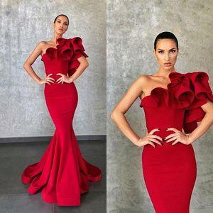 Elie Saab 2020 rouge élégant robes de soirée sirène Ruffles robe de soirée formelle Robes de soirée piste robe de célébrité robes de bal Porter de soirée