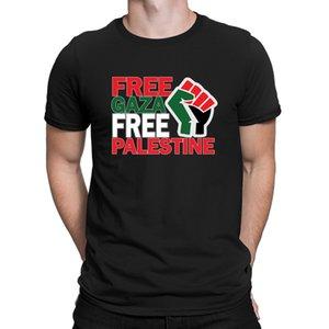 Livre seguro Gaza Palestina Camisetas Confortável bonito do Top Homens Spring Qualidade Camiseta Slim Fit 100% algodão Família Anlarach Impresso