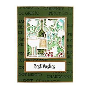 Bottiglia di vetro Uva Wine Opener telaio in metallo tagliato Stencil per le schede di carta fai da te Scrapbooking Crafts Nuova decorativo 2018 Die