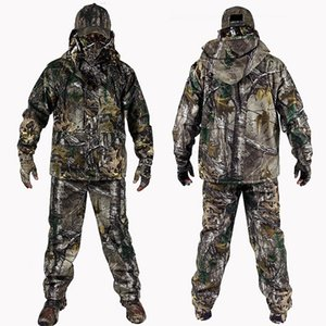 4 PC Winter Bionic Camouflage Hunting Suits Outdoor Military Tactical Hiking Clothing Jacket Pants Windbreaker Hoodie Gloves Hat T200601