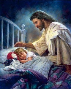 xa049# Nathan Greene I AM WITH YOU ALWAYS Jesus by girl's bed Home Decor HD Print Oil Painting On Canvas Wall Art Pictures 01