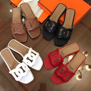 2019size 35-41 Mix Renkler ile Kadın Tasarımcı Sandalet Üst Deri Toz Torbası Tasarımcı Ayakkabı Slayt Yaz Geniş Düz Sandalet Terlik Orig