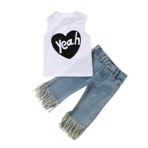 Bambino delle ragazze dei capretti senza maniche T-shirt maglia della parte superiore + nappa denim dei jeans Pantaloni Outfits set Casual