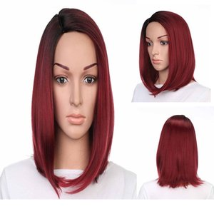 A Straight Bob Synthetic Wigs Heat Resistant Fiber Ombre Two Tone Natural Hairline Wigs 140g  Piece 13 Inches