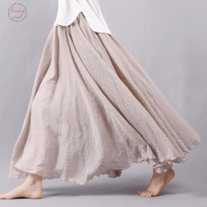 New Fashion Women Boho Vintage Pleated Maxi Skirt 2018 Summer Elastic High Waist Casual Cotton Linen Beach Skirts Faldas Solid Saias