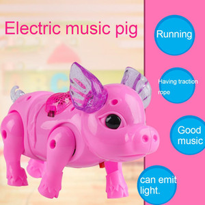 Electric Walking Singing Musical Light Pig Toy with Leash Interactive Kids Toy Electronics Robot Gift Children Birthday Present