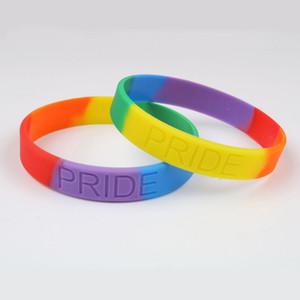 Homosexuell Stolz Silikon Armband Gummi Regenbogen Flagge Armband LGBT Sport Silikon Armreif Lesben Stolz Armband Armbänder Partei Schmuck Geschenke