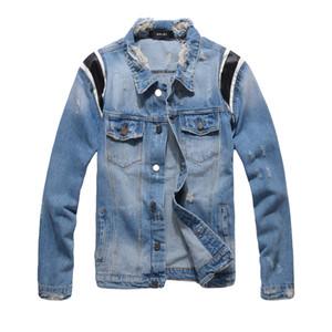 Mens Giacca di jeans primavera e l'autunno Large Size Accendere dowm rivestimento del collare High Street Style Mens Jackets asiatico M-4XL