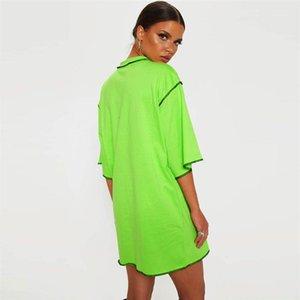 Long T-shirts en vrac demi manches dames solides T-shirts ras du cou Mode Femme Vêtements d'été Femmes Patchwork