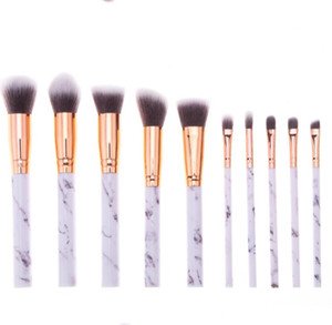 Marbling Handle Makeup Brushes 10Pcs / Set Pinceaux de maquillage professionnels ye Ombre Sourcils Lèvres Lèvres Maquillage Brosse Comestic Outil KKA6798