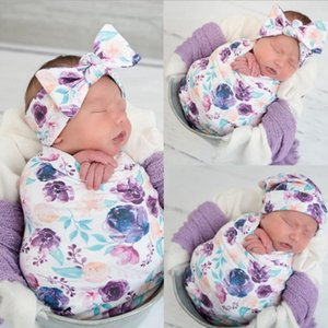 Baby Swaddle Set Newborn Swaddling Blanket Headband Hat 3pcs Sets Floral Bedding Clothing Infant Photography Props 5 Designs DW5505