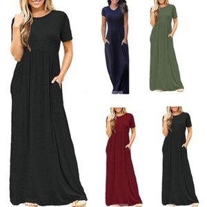 الصيف أزياء النساء الدانتيل مطوي بوهو فساتين طويلة ماكسي الصلبة بسيط اللون عادي مستدير عنق طويل فضفاض السيدات كم