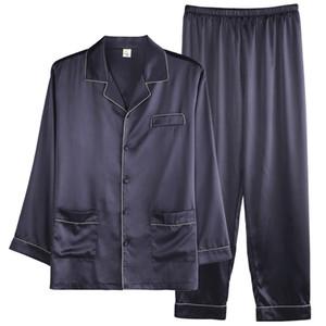 Estate 2019 Seta uomo semplice Pajama Set raso Cardigan Sleepwear Pajamas Sleepwear Maschio casa Pijama Hombre Pigiama