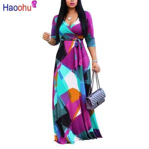 Haoohu outono inverno longo dress mulheres v abordagem meia concha retro pressão geométrica do vintage dress 5xl plus size envoltório dress y19071001
