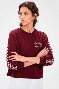 Trendyol Borgogna Stampato in maglia Felpa TWOAW20SW0349