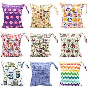 기저귀 가방 인쇄 포켓 기저귀 가방 방수 더블 지퍼 젖은 가방 재사용 젖은 건조 가방 최신 40 디자인 도매 DHW3338