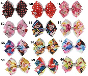 JOJO SWIA 36pcs NEW 117style 4.5inch hair Bow print princess Halloween Valentine's Day BOWKNOT WITH HAIR CLIP Hair Accessories for Girls