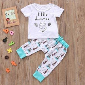 2020 DAILOU Детская одежда США Симпатичные Новорожденный мальчик девочки футболки Топы + Цветочные Pant 2PCS Одежда Нижнее