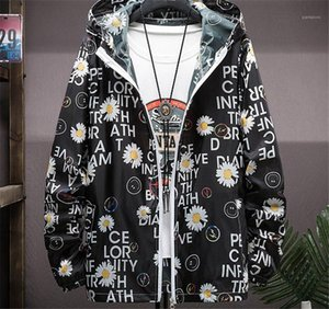 Spring Zipper Pocket Hooded Outerwear Long Sleeve Street Style Slim Mens Clothes Mens Floral and Letter Print Jackets