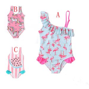 Unicorn summer kids girls swimwear cute print cartoon animal flamingo one-piece baby fashion swimsuit 3 styles M95612