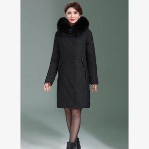 Long Slim Hooded Winter Coat Duck Cotton Warm Oversize Cotton Heavy Jacket Thick Solid Padded Parkas Outwear Coat