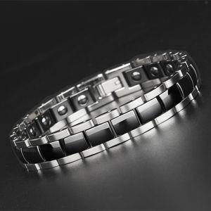 TrustyLan Venta En Alta 12MM pulido de gama pulseras hombres de cerámica del hombre con pulsera de titanio con sana Negro piedras de germanio