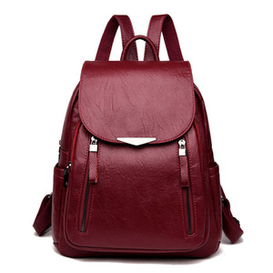 Casual Backpack Female Leather Women's Backpack Large Capacity School Bag For Girls Double Zipper Fashion Shoulder Bags