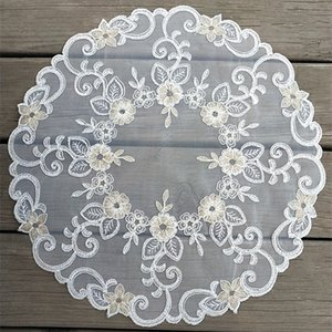 42CM Modern lace embroidery placemat cup coaster mug kitchen Christmas dining table place mat cloth tea coffee doily dish pad T200703