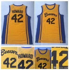 Alta qualità ! Teen Wolf Scott Howard 42 Beacon Beavers College Basket Jersey Giallo Movie Howard Beavers Shirt Stitched S-XXL