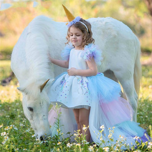 Noel Kabarık Çiçek Kız Prenses Unicorn Elbise Muhteşem Backless Uzun Kuyruk Gelinlik Çocuk yarışması Cadılar Bayramı Unicorn Cosplay Kostüm