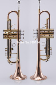High Quality Falling Tune Bb Trumpet Lacquer gold Musical instruments Professional Mouthpiece And Case Free Shipping