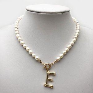 Подлинная жемчужина 26 букв колье A-z индивидуальные английские буквы кулон ожерелье золотой цвет английское ожерелье бисером жемчужные украшения
