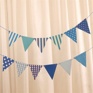 Blue Pink Triangle Flag Festival Party Buntings Colorful Flag For Wedding Banner Birthday Party Decoration yq00145