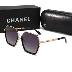 CHANEL 1224 2020 hombres del diseñador gafas de sol sin rebordes Marca las mujeres lentes transparentes búfalo cuerno de moda gafas de sol lunetas Gafas de sol UV400 de conducción