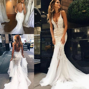 Pallas Couture 2020 Lace Floral Long Train Mermaid Beach Wedding Dresses Custom Make V-neck Full length Fishtail Bridal Wedding Gown 2044