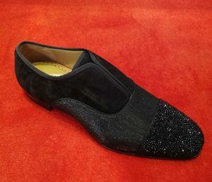 [С коробкой] название брендов 19SS альфа-самец P Strass плоские туфли роскошные красные нижние мокасины обувь классический дизайнер вечернее платье свадьба